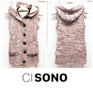 Wine Marled Cable Knit Fur Vest   Ci Sono